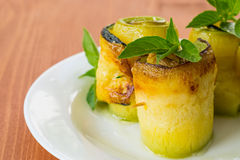 Zucchini rolls with fillings Royalty Free Stock Image