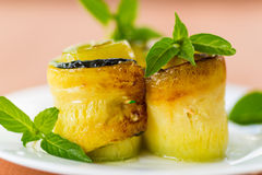 Zucchini rolls with fillings Royalty Free Stock Photos