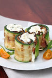 Zucchini rolls with pepper bacon and cheese Royalty Free Stock Photography