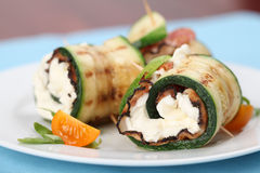 Zucchini rolls with pepper bacon and cheese Royalty Free Stock Images