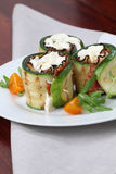 Zucchini rolls with pepper bacon and cheese Royalty Free Stock Photos