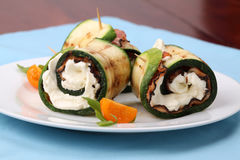 Zucchini rolls with pepper bacon and cheese Stock Photos