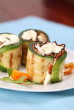 Zucchini rolls with pepper bacon and cheese Stock Photo