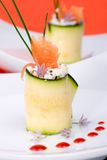 Zucchini Rolls with smoked salmon Royalty Free Stock Photography