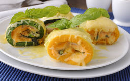 Zucchini rolls stuffed with cheese Royalty Free Stock Photos
