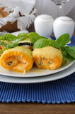 Zucchini rolls stuffed with cheese Royalty Free Stock Image