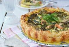 Zucchini and salmon pie Stock Photo