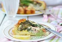 Zucchini and salmon pie Stock Photography