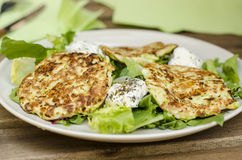 Zucchini savory cakes. With goats cheese Royalty Free Stock Images