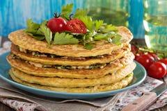 Zucchini savory layered cake Stock Photo