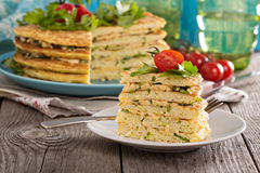 Zucchini savory layered cake Royalty Free Stock Photo