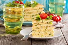 Zucchini savory layered cake Stock Photos