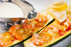 Zucchini with shrimp and sauce Royalty Free Stock Image