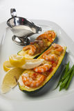 Zucchini with shrimp and sauce Royalty Free Stock Photos