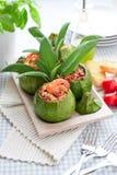 Zucchini som är välfylld med räka Royaltyfri Foto