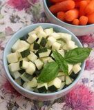Zucchini. Some raw cubes of zucchini in a bowl Royalty Free Stock Photos