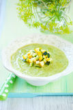 Zucchini soup. Bowl of delicious zucchini soup royalty free stock photography