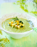 Zucchini soup. Bowl of delicious zucchini soup royalty free stock image