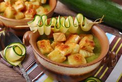 Zucchini soup with croutons Stock Photos
