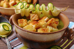 Zucchini soup with croutons Stock Photo