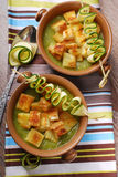 Zucchini soup with croutons Royalty Free Stock Image