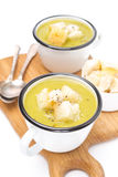 Zucchini soup with croutons in a cups,  Royalty Free Stock Images