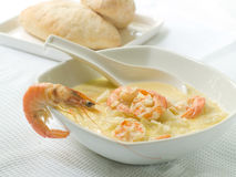 Zucchini soup with shrimps royalty free stock photos
