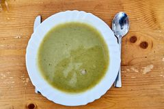 Zucchini Soup with Spoon And Knife royalty free stock image