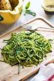 Zucchini spaghetti in Pesto sauce Stock Image