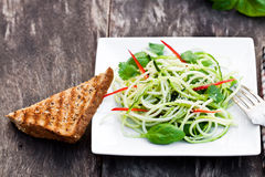 Zucchini  spaghetti  salad with basil and paprica on squared plat Royalty Free Stock Images