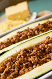 Zucchini with spicy meat stuffing Royalty Free Stock Photos