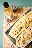 Zucchini with spicy meat stuffing Royalty Free Stock Photography