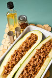 Zucchini with spicy meat stuffing Royalty Free Stock Photo
