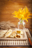 Zucchini with squash blossoms and rice. To preparing tasty risotto royalty free stock photography