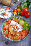 Zucchini, stewed with tomatoes and rice. Turkish cuisine Royalty Free Stock Image
