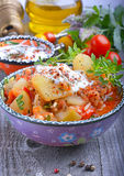 Zucchini, stewed with tomatoes and rice. Turkish cuisine Royalty Free Stock Photography
