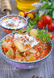 Zucchini, stewed with tomatoes and rice. Turkish cuisine Royalty Free Stock Photos