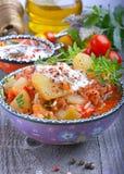 Zucchini, stufato con i pomodori ed il riso Fotografia Stock Libera da Diritti