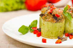 Zucchini stuffed with cheese Royalty Free Stock Photography