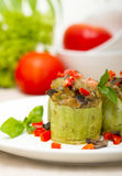 Zucchini stuffed with cheese Royalty Free Stock Photos