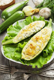 Zucchini stuffed with curd cheese Royalty Free Stock Photos