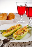 Zucchini stuffed with meat, cheese and garlic Royalty Free Stock Photos
