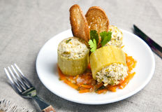 Zucchini  stuffed with meat Stock Photos