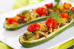 Zucchini stuffed with meat and vegetables Royalty Free Stock Photography