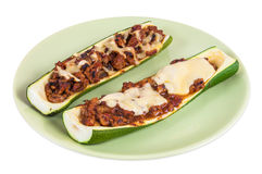 Zucchini stuffed with minced meat and cheese Stock Photography
