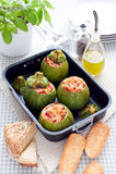 Zucchini stuffed with pecorino Stock Photo