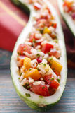 Zucchini stuffed with rice and vegetables Stock Photography