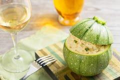 Zucchini stuffed with risotto Stock Photo