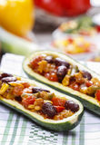 Zucchini stuffed with vegetable salad Stock Photography