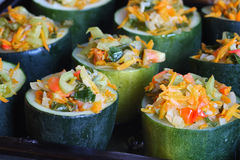 Zucchini stuffed with vegetables dish Royalty Free Stock Photography
